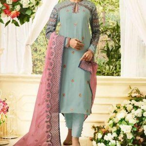 Three piece embroidered blue pink pant suit